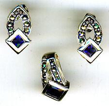 "925 Sterling Silver Faux Sapphire & Marcasite Pendant & Stud Earrings Set 18"" ch"