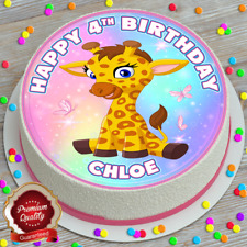 CUTE GIRAFFE HAPPY BIRTHDAY PERSONALISED 7.5 INCH EDIBLE CAKE TOPPER C-133G
