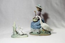 Lladro Goose Trying to Eat # 5034 Figurine Spain Daisa 1979 & NAO 3 Geese Set