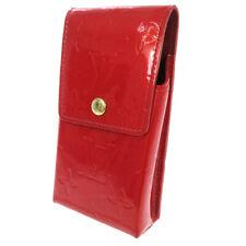 LOUIS VUITTON VERNIS GREEN CIGARETTE CASE SHOULDER BAG RED M91155 TH1002 AK40386