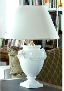 Lampada da tavolo ceramica decorata a mano lume d'appoggio in maiolica italiana