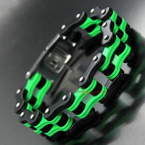 Mens Stainless Steel Motorcycle Bike Chain Link Bracelet Heavy Biker Black/Green