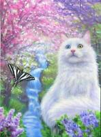 ACEO WHITE GRAY CAT PINK PURPLE SPRING TREE FLOWERS WATERFALL BUTTERFLY PAINTING