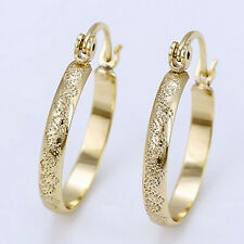 9ct Yellow Gold Filled Rolled Pattern Textured Hoop Earrings 23mm UK -192