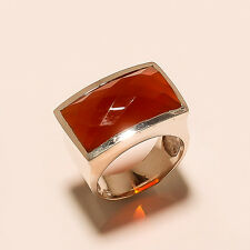 925 Solid Sterling Silver Charming Best Quality Red Chalcedony Ring with 12 Grm