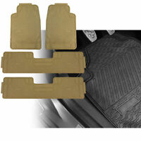 3 Row Car Floor Mats for All Weather Rubber Tactical Fit Heavy Duty Beige