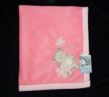 NEW NOS VTG Carters Pink Peach All About A Bear Hug Me Baby Blanket w/ Squeaker