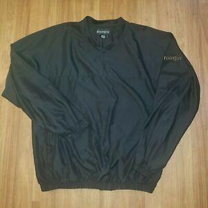 Men's FootJoy Golf V-Neck Pullover Windshirt Jacket Long Sleeve Black Size Large