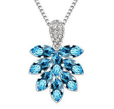 HOT Womens Maple Leaf Blue Crystal Rhinestone Silver Chain Pendant Necklace