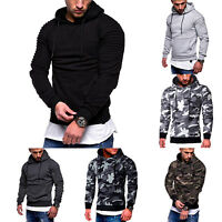 Mens Fashion Camouflage Hooded Pullover Sweatshirt Gym Fitted Pleated Jumper