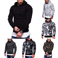 Men Slim Fit Camo Hoodie Hoody Hooded Sweatshirt Coats Jacket Outwear Sweater US