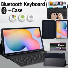 For Samsung Tab A / E / S5e / S6 Leather Stand Case Cover + Bluetooth Keyboard
