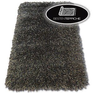 """Amazing Soft And Thick Rugs Black Braun """" Love Shaggy """" Polyester 2 3/8in"""
