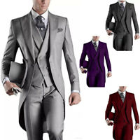 3PCS Men's Suits Groom Tuxedos Wedding Formal Swallowtail Tailcoat Morning Suits