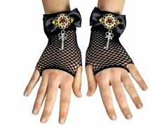 Steampunk Red Guantes Sin Dedos GOTHIC, Punk, Rave Llave MUJER
