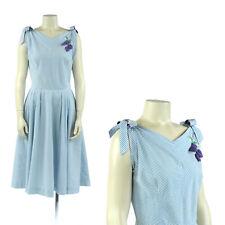 Vintage 50s Minx Modes Blue + White Cotton Chevron Stripe Bow Tie Party Dress S