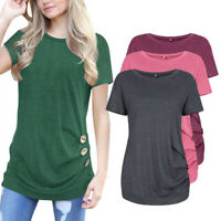 Women's Casual Short Sleeve Round Neck Tunic Tops Loose Button Shirts Blouse