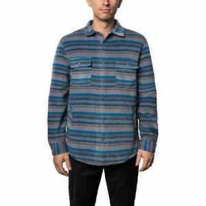 Voyager Mens Polar Fleece Shirt Jacket Blue Sapphire Size Medium