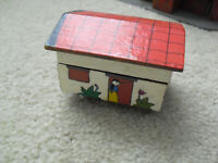 "Unique Small Vintage Wood Hand Painted Cottage Music Box 2 1/2"" Tall"
