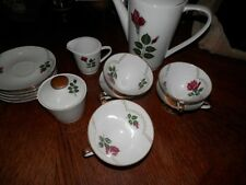 Vintage Wissterling Bavaria Coffee Tea Pot w/Cups & Saucers Double Gold Trim