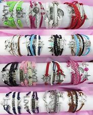 infinity bracelet silver charms Us Seller-10pc wholesale lot friendship