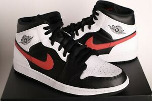 Nike Jordan 1 Mid Black Chile Red White 554724-075 Men Sz 10.5,12,14 - NIB