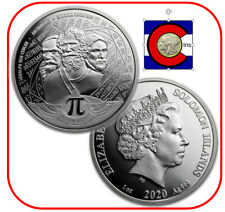 2020 Solomon Islands Number Pi (π = 3.14) Silver Coin in direct fit capsule