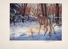 ILLINOIS #1 1993 STATE HABITAT STAMP PRINT WHITETAIL DEER by Jim Killen 2 stamps