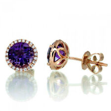 Rose Gold Plated Earring Stud Lab Created Purple Stone Earrings Cz Surrounding