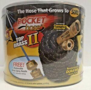 Pocket HoseTop Brass 50ft 3/4''Hose Kink Resistance Removable Brass Spray Nozzle