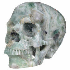 "6.89""Natural  Fluorite Crystal Carved skull Carving,Rare Mineral #20X19"