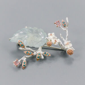 Aquamarine Brooch Silver 925 Sterling Carving Jewelry Design /NB09034