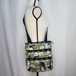Le SportSac Kasey Three Zipper Crossbody Bag Purse Palms Animals 10.5 x 12