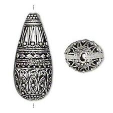 1251 Silver Plated Filigree Brass Teardrop 35mm PK1 *UK EBAY SHOP*