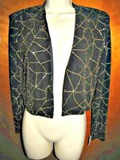 John Roberts Womens Cocktail Jacket Black With Gold Metallic Threads Sz 10P