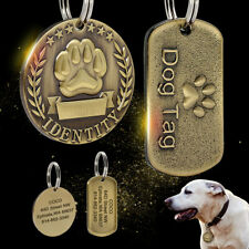 Military/Round Pet Dog Tags Personalised Gold Engraved Name ID Collar Tag w/ Paw