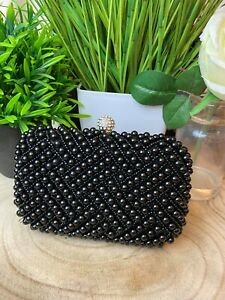 Jewel Black Pearl Embellished Occasion Clutch Ladies Occasion Clutches Race Day