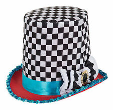 STOVEPIPE MAD HATTER CHEQUERED HAT WONDERLAND EXOTIC CRAZY ECCENTRIC