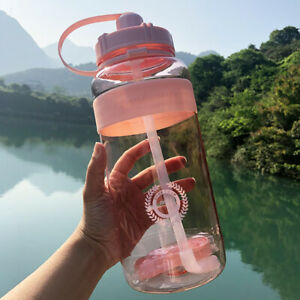 Large Capacity Water Bottle Sports Drinking Outdoor Portables Kettle with Straw
