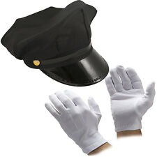 UNISEX BLACK CHAUFFEUR HAT TIE GLOVES LIMO DRIVER FANCY DRESS COSTUME ACCESSORY