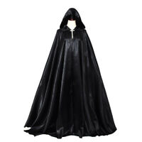 Gothic Medieval Hooded Cloak Witch Cape Long Robe Halloween Cosplay Costume