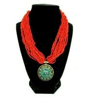 "Multi Strand Orange Seed Bead Necklace w/Stone Inlay 17"" Ethnic Boho Holiday"
