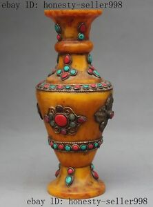 "9""Rare Old tibetan Silver Beeswax inlay Turquoise Coral gem Bottle Pot Vase Jar"