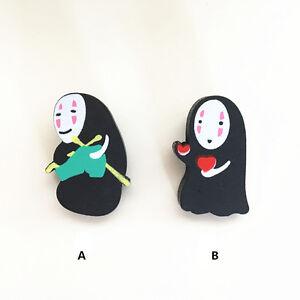 Studio Ghibli Spirited Away No Face Kaonashi Bag T-shirt Wooden Badges Pin