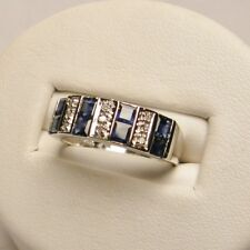 Sapphire and Diamond Princess Cut Band Set in 14K White Gold