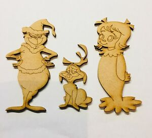 Grinch Max And Cindy Size 90mm Dog 50mm Mdf 3mm Craft Blank