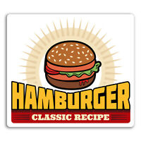 2 x 10cm Classic Hamburger Vinyl Stickers - Retro Fast Food Diner Sticker #17531
