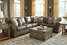 Traditional Living Room Taupe Brown Real Leather Large Sofa Sectional Set IG2O