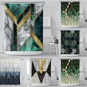 Green Shower Curtain with Free Hooks New Waterproof Fabric Bathroom Curtain