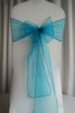 25x Teal blue Organza Sheer Chair Sashes Wedding Banquet Party Event Decoration